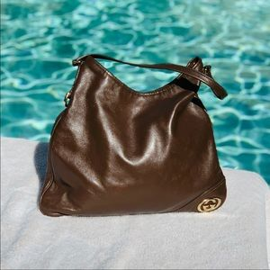 GUCCI Brown Leather Britt Classic Shoulder Bag